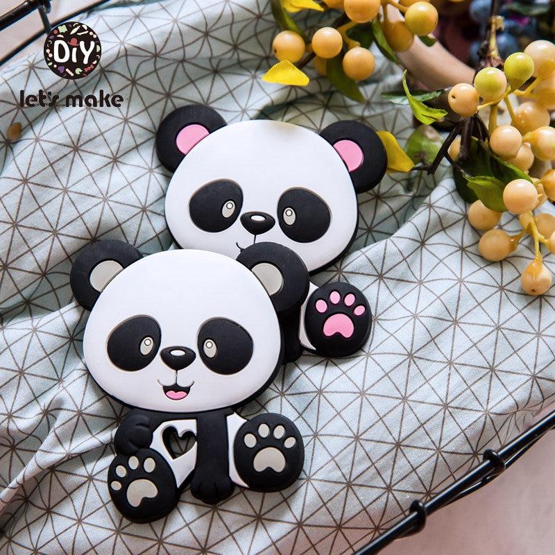 Let's Make Silicone Teether Baby Silicone Teethers BPA Free Black DIY 5Pcs Panda Cartoon Toy 3-9 Months Wholesale Baby Teething