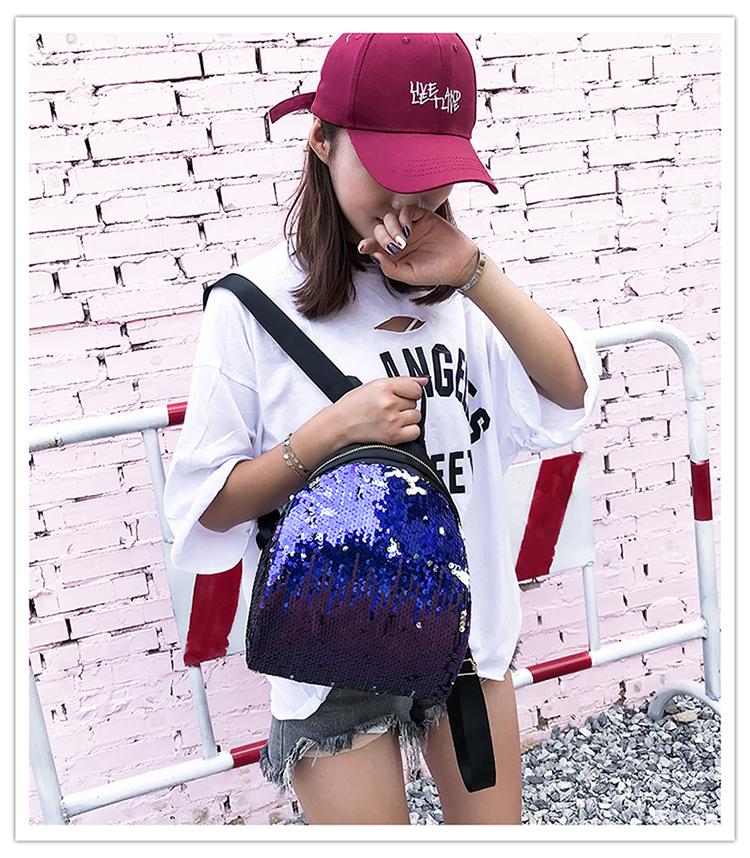 Backpacks women Korean mini 2018 new sequined shell fashion trend women go with small backpacks travel backpack 88