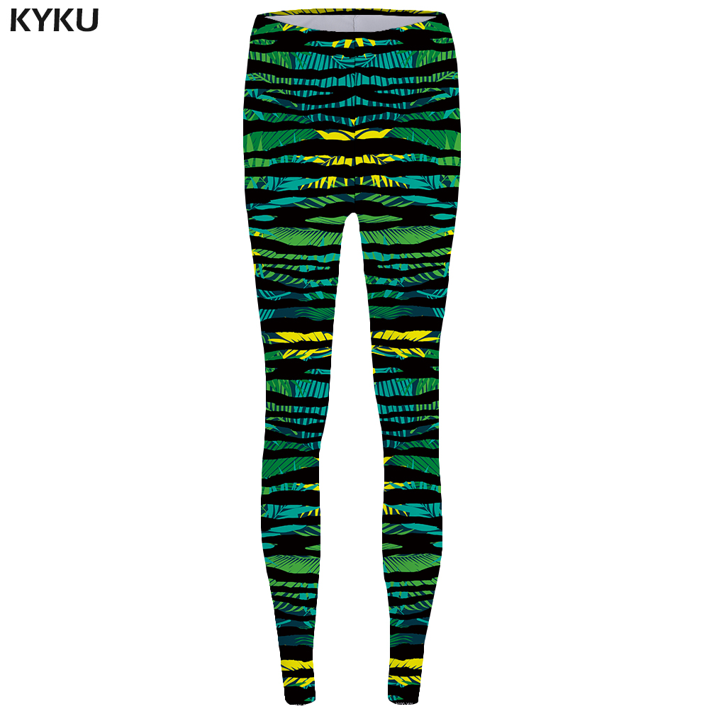 KYKU Brand Green Leaves Leggings Line legging femme Camouflage Legging Trousers for leggins Leggins fitness Women Slim Pants