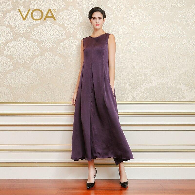 Voa 2018 Spring Summer Fashion Purple Plus Size Vintage Slim Women