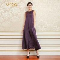VOA Purple Plus Size Vintage Slim Women Long Party Dress Silk Sleeveless Stain Dresses Luxury Clothes vestidos de fiesta A6788