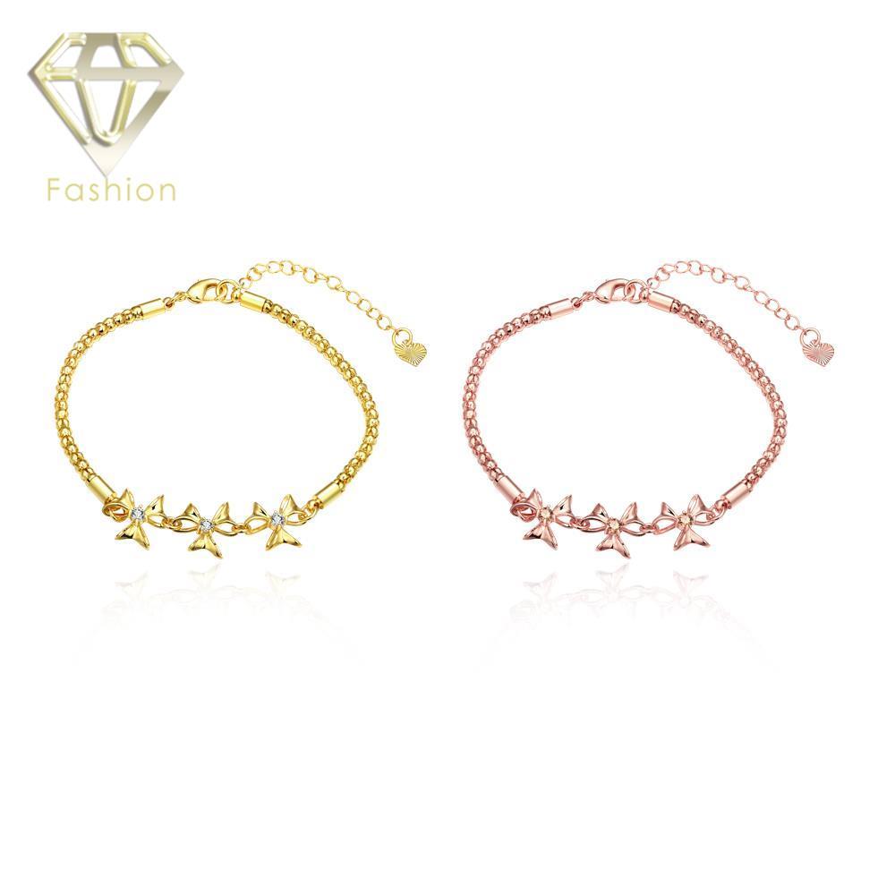 62944b1257336 Graciosa Ouro Rosa Cor de Cadeia de Ligação com 3 Trevos Pingente Embutidos  Cubic Zircon Mulheres Moda Pulseiras Jóias