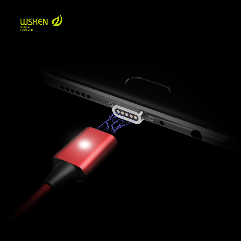 WSKEN Lite Red Magnetic Type C Micro USB Cable Fast Charging Charger Adapter For iPhone Samsung Xiaomi Huawei OnePlus Data Cable