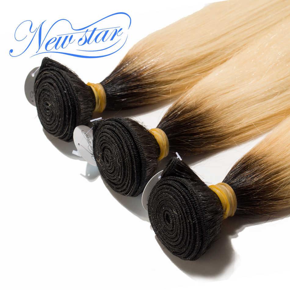 Nieuwe Ster T1B/613 Straight 3 Bundels Braziliaanse Remy Haar Zwarte Wortels Blond Haar Weven 100% Menselijk Haar