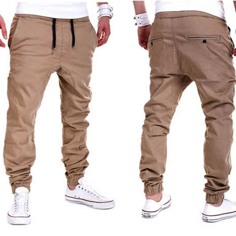 New Men's Trousers Pants Solid Color Elastic Crossover Sweatpants Breathable Casual Thin Boys Autumn Winter Fashion Clothes