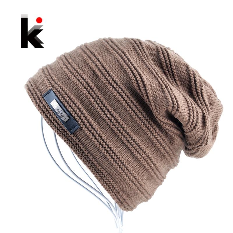 Winter Beanie Unisex Mens Skullies Hat Stripe Cap Knitted Hat Bonnet Plus Velvet Caps For Women Beanies Gorros