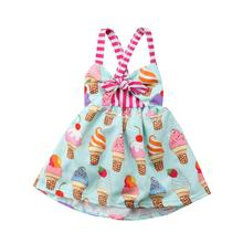 AmzBarley Toddler Girls Dresses Halter Backless Bow Knot Dress infant ice cream printed casual clothes Summer Clothes for girls