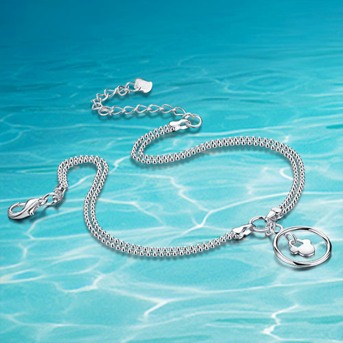 925 women sterling silver anklets;silver charm anklets;925Sterling silver; Free from vulgarity;brand jewelry;