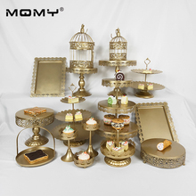 16 Pcs Unique Gold Plated Metal Weeding Iron Modern 3 Tier Afternoon Tea Cake Stand