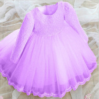 Mode bruiloft jurken kids tulle kant lavendel rood blauw roze peuter jurken lange mouwen meisje jurk met grote boog