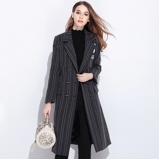 2016Women Suit Collar Stripe long trench coat double breasted female outwear cartoon applique outfit blouse tops Plus sizeXXXXXL