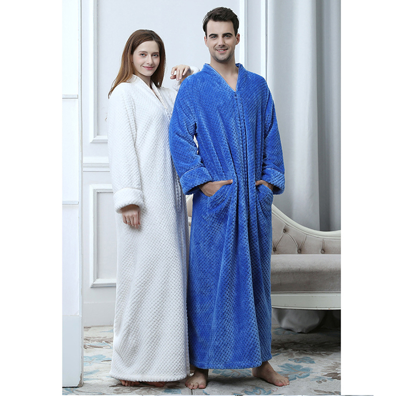 Couple Long Robe Flannel Solid Loose Men Women Home Cloth Long Sleeve Night Gowns Casual Bathrobe Lover Autumn Winter Sleepwear