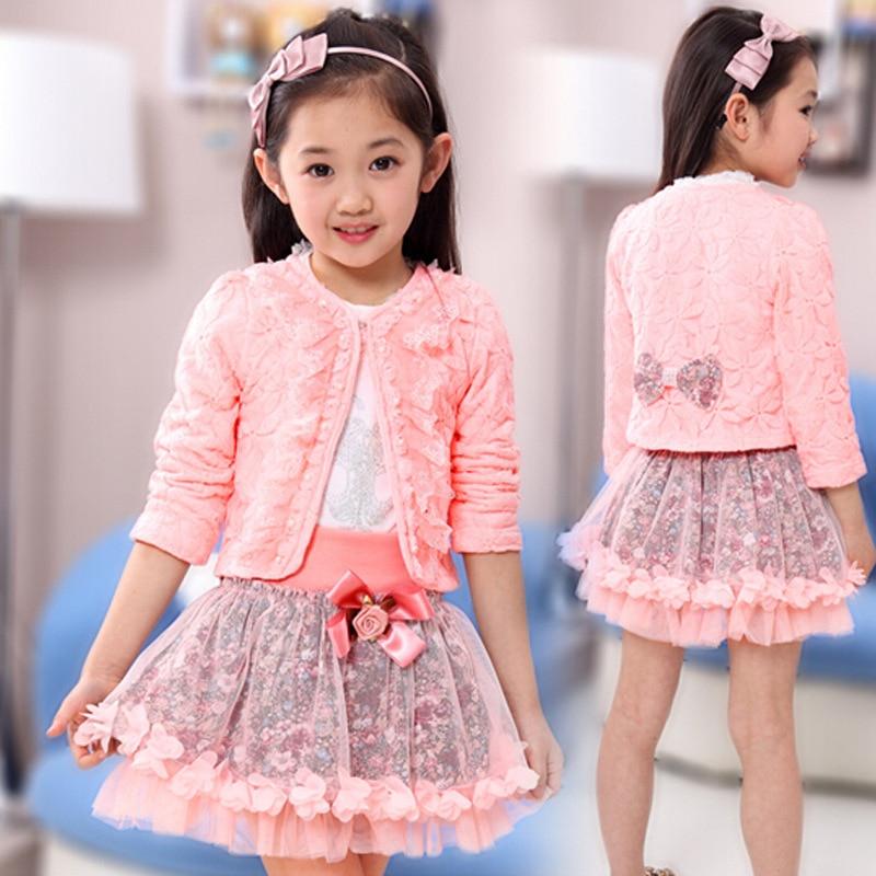 2019 Filles Vêtements Ensemble Bambin Filles Vêtements Ensemble Mode Gros Filles Dentelle Blanche Chemise + Jupe + Manteaux Enfants Costume 3 pièces Tenues