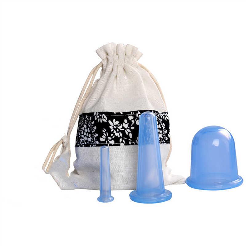 3 sztuk pochłaniacz wilgoci Anti Cellulite Jar próżniowe bańki puchar chiński cellulit przyssawki silikonowe twarzy masaż ciała