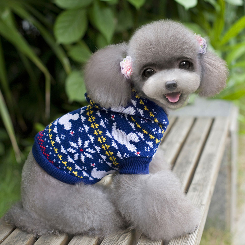 2017 XS/S/M/L/XL Christmas Elk Print Pet Dog Puppy Warm Clothes With Cap Outwear Sweater Acrylic fibres 40% OFF