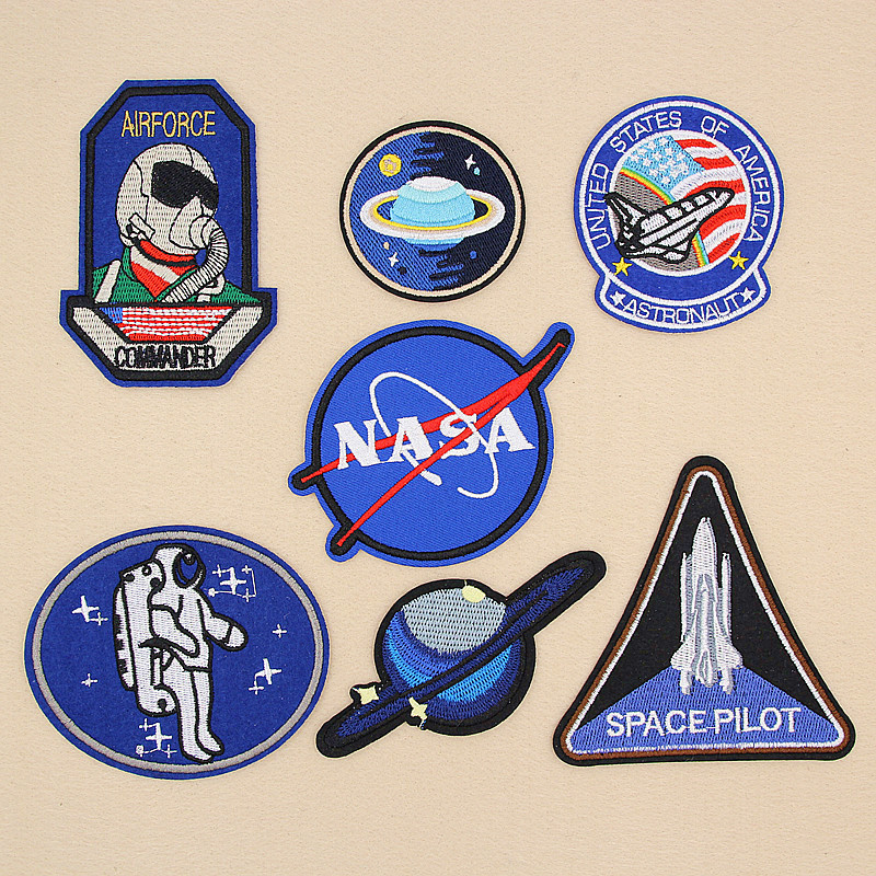 Embroidered Iron On Patches NASA Shuttle Astronaut Airforce Stickers Sewing On Jeans Clothing DIY T Shirt Costumes