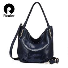 REALER Brand fashion women genuine leather shoulder bag female serpentine print handbag hign quality zipper crossbidy bag 2017
