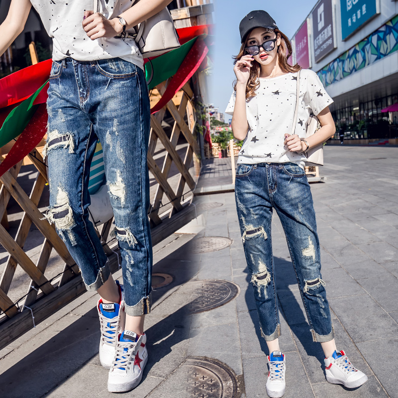Jeans Female 2019 Spring And Autumn Knee Patch Fake Hole Trousers  High Waist Loose Pants Nine Points Straight Pants