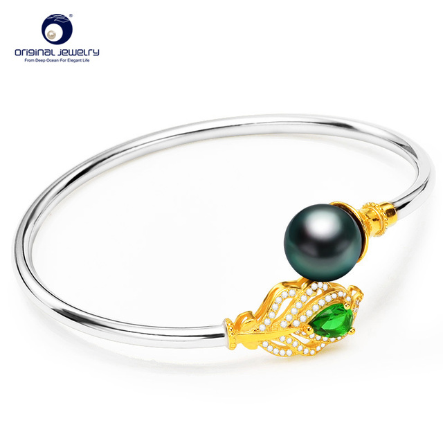 [YS] Fine Jewelry Black Tahitian Seawater Cultured Pearl Alloy Bracelet Fashion Hand Ring For Women Best Gift Free Shipping