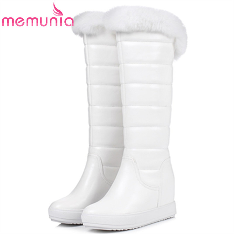 MEMUNIA 2018 Winter boots for women fashion keep warm snow boots height increasing shoes woman knee high boots solid PU мягкая игрушка развивающая k s kids часы сова