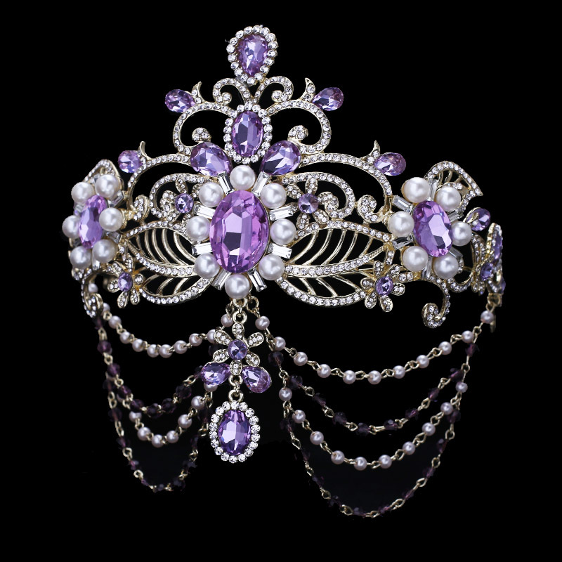 Purple Crystal Bride Hair Accessory Wedding Bridal Tiaras For Women Rhinestone Pageant Crown Head Jewelry Ornament In From