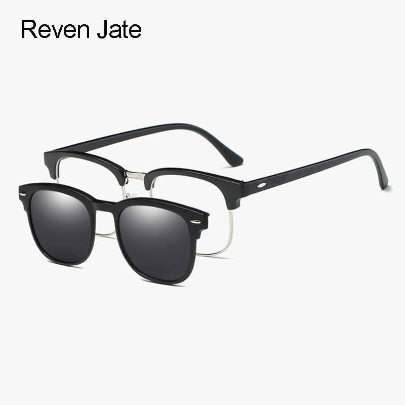 a44433db4a Reven Jate 2218 Plastic Polarized Sunglasses Frame with Magnetic Super Light  Mirror Coating Polarize Sunwear Clip