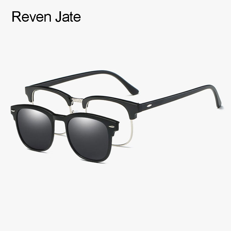18f09abaf3fb Reven Jate 2218 Plastic Polarized Sunglasses Frame with Magnetic Super  Light Mirror Coating Polarize Sunwear Clip-ons
