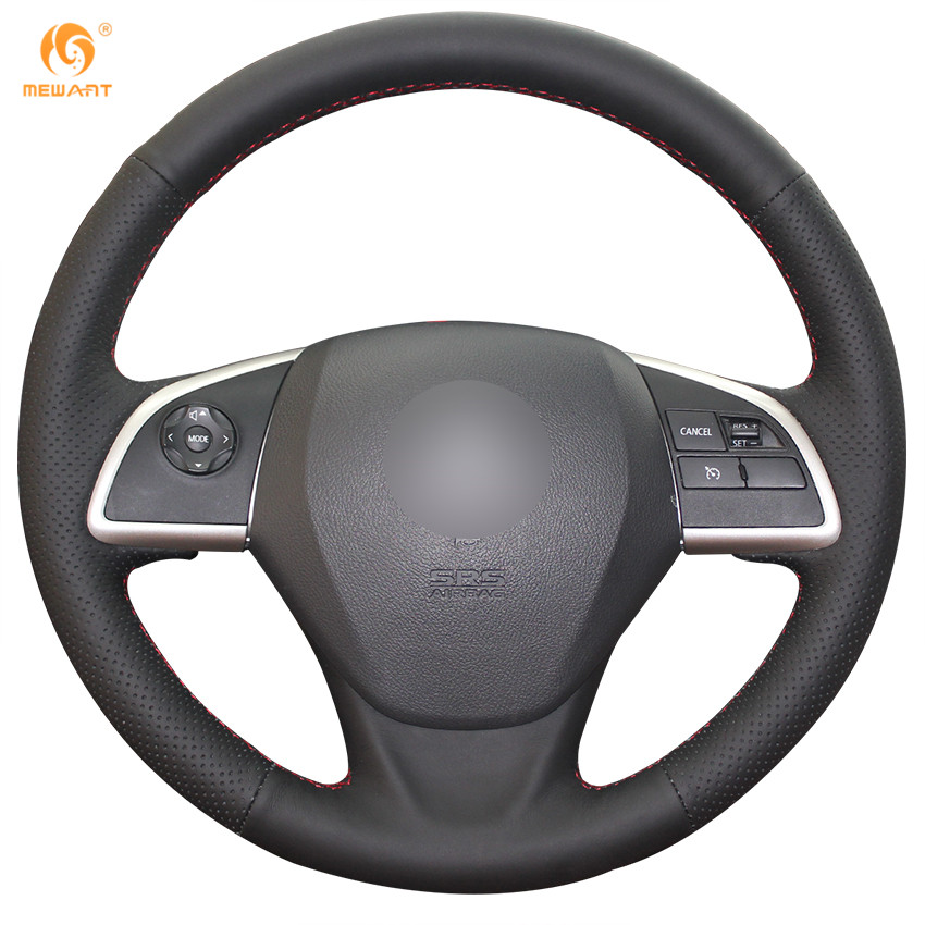 MEWANT Black Genuine Leather Car Steering Wheel Cover for Mitsubishi Outlander 2013 2014 Mirage 2014 ASX L200 2015 2016 special hand stitched black leather steering wheel cover for vw golf 7 polo 2014 2015