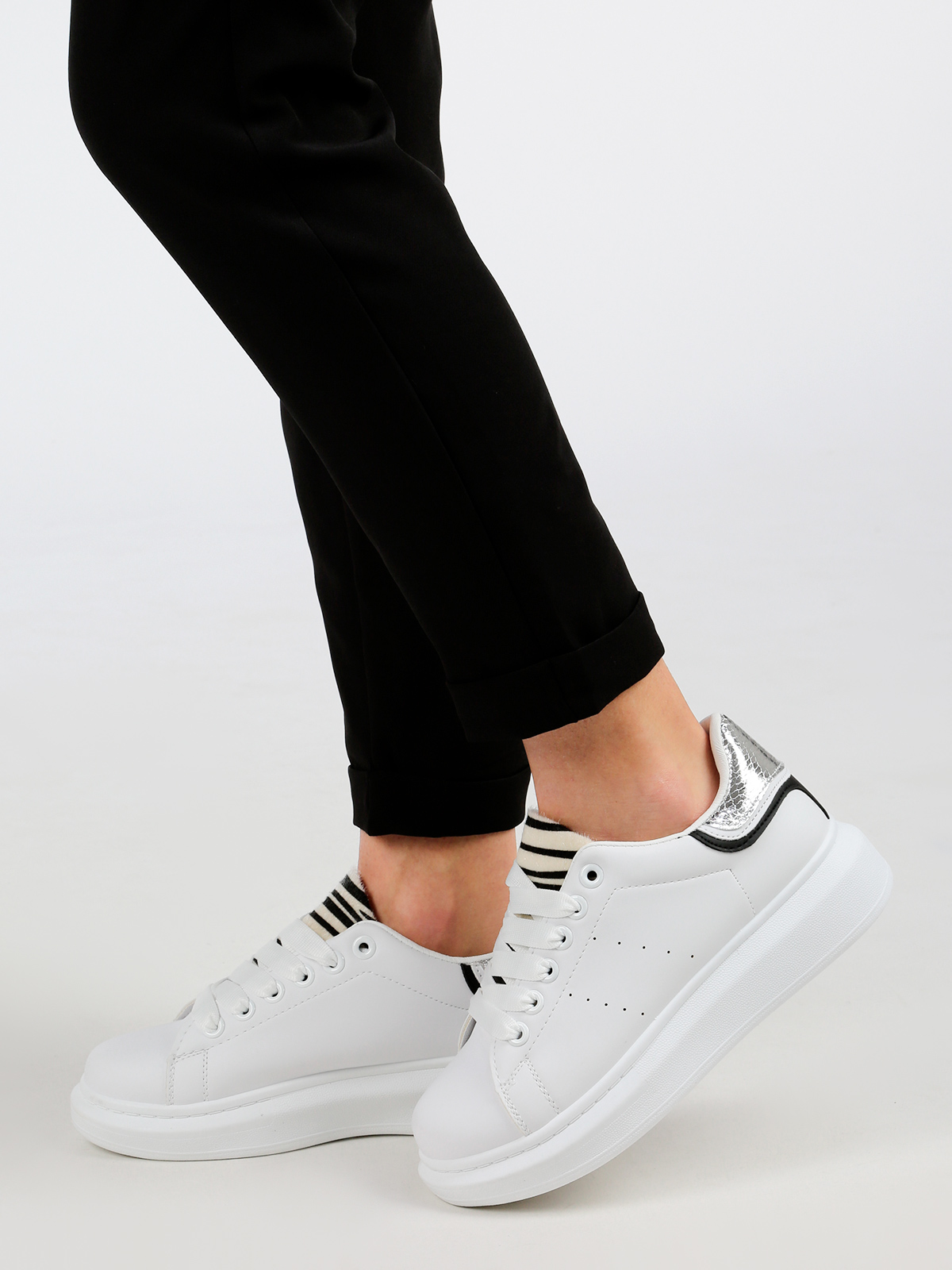 Faux Leather Soled Sneakers High