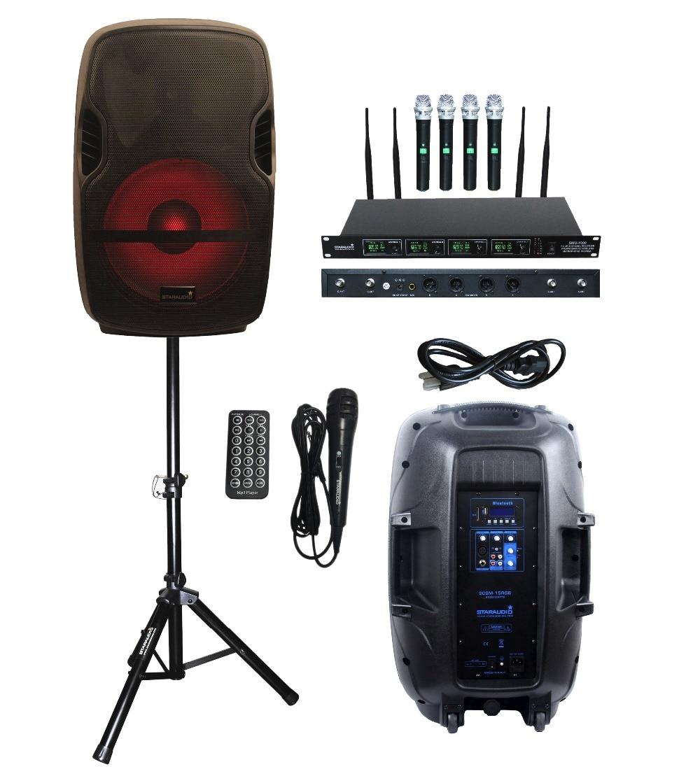 "Portable PA Karaoke Bluetooth Speaker w 8/"" Subwoofer Sound Mic DJ Lights FM 25W"