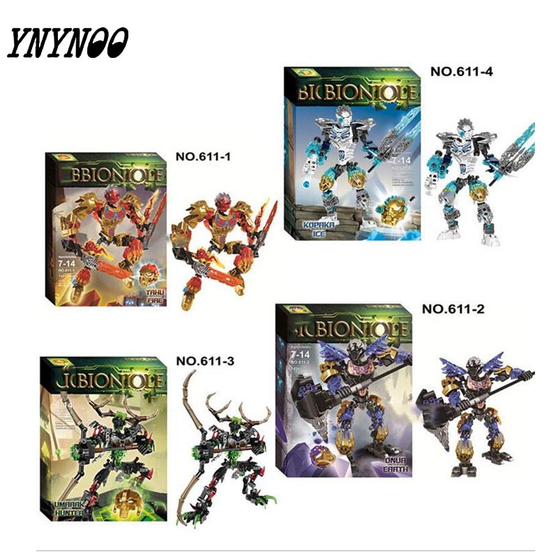 (YNYNOO) 2016 New BIONICLE series jungle Rock Water Earth Ice Fire protecto action figure Building Block compatible with цена