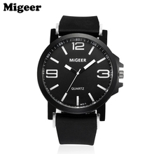 MIGEER Mens Silicone Strap Quartz Sports Wrist Watch 170630 Free Shipping