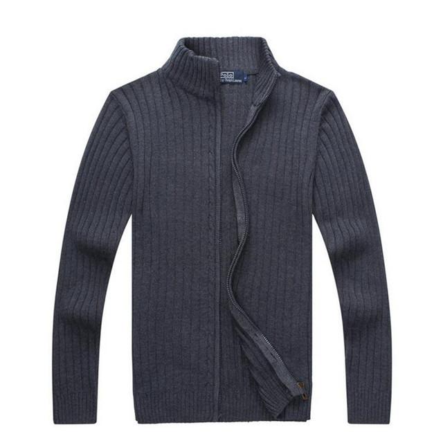 Otoño Invierno Knited Suéter Abrigos Hombres Slim Fit Masculina Cardigan Negro Sólido Suéteres Homme Suéter Outwear Casual de Negocios