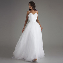 Spaghetti Strap Beach Wedding Dresses 2017 Vestido Noiva Praia Simple White Tulle Casamento Bridal Gowns Custom Made plus size