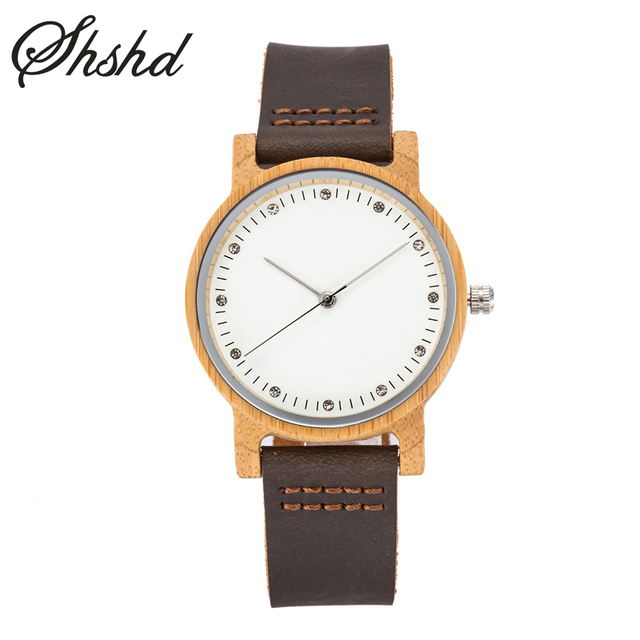 Casual Wood Watches For Women Diamond Dial Quartz Wristwatches Fashion Leather Strap Woman Watch Wooden Ladies Clock Reloj Mujer