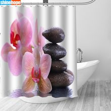 150x180CM Nordic Pictures Polyester Waterproof Stone and Flower Shower Curtains High Quality Bath Curtain In The Bathroom(China)