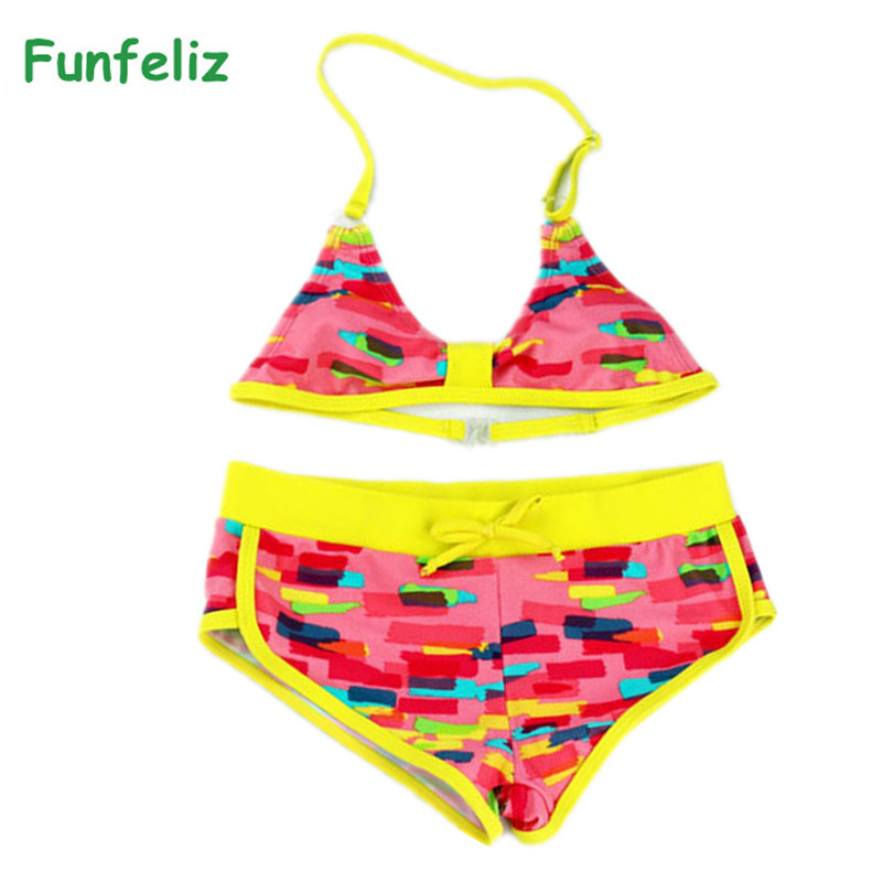 Two Pieces Girls Swimsuit Tankini Biquini Infantil Menina -3962
