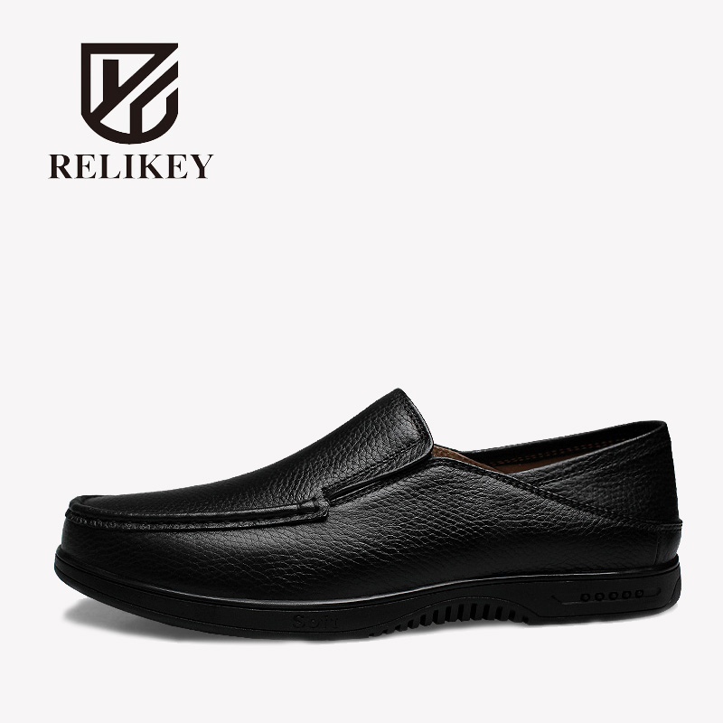 RELIKEY Brand Men Classics Loafers Business Genuine Cow Leather Male Flats Slip-On New Arrival Big Size Casual Shoes for Men men mixed color shoes 2017 new genuine leather fashion men s flats prom male loafers slip on party wedding shoes size 6 15