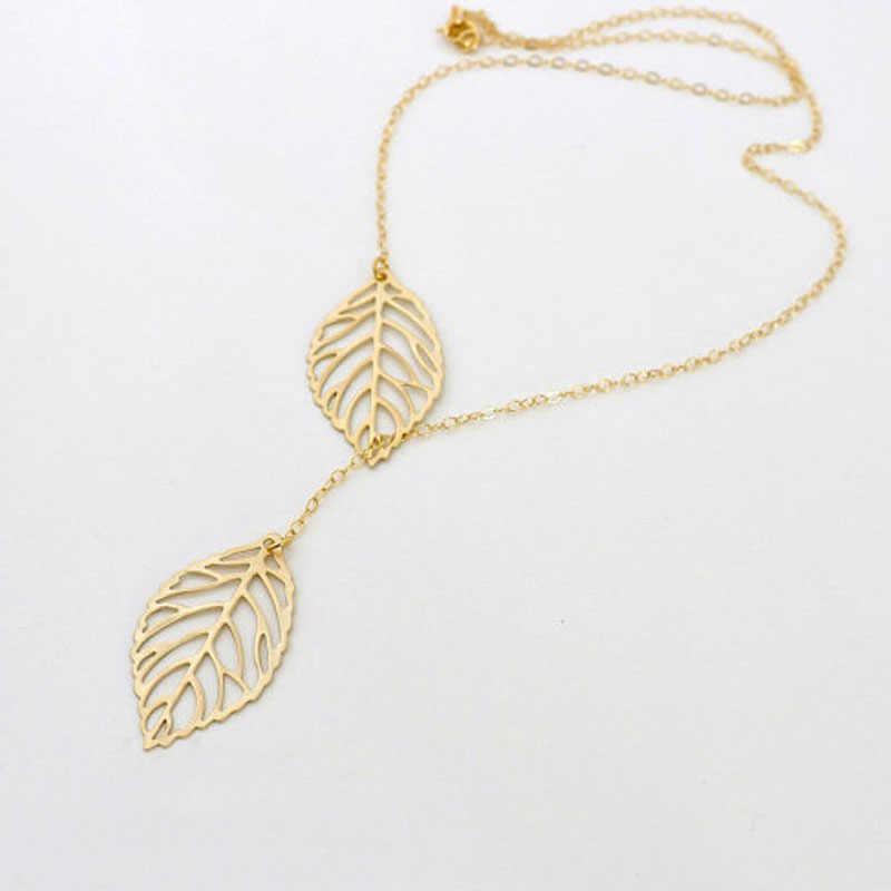 Élégant collier sauvage de luxe Long pendentif collier populaire Double feuille pendentif en alliage collier ras du cou de haute qualité SL GD 1p L0326