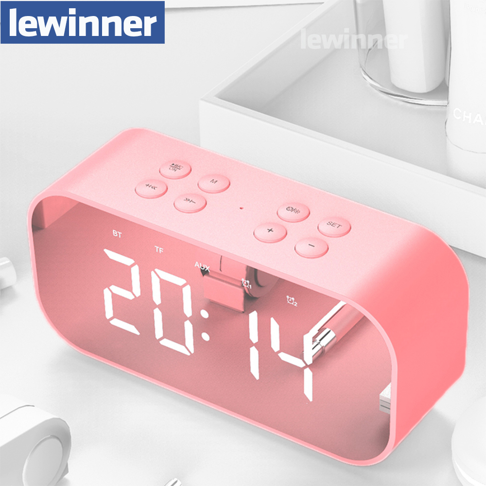 Lewinner Multifunction Wireless Bluetooth Speakers with Clock Home Mini LED Display Digital Table Alarm Clock for Office Bedroom-in Portable Speakers from Consumer Electronics