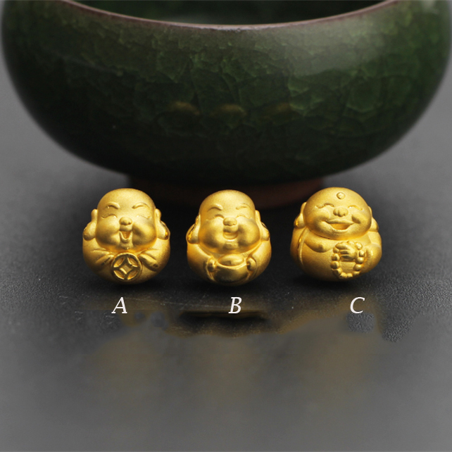 Pure 24 k 999 Geel 3D Gold Smile Boeddha Geluk Kraal Zwarte Agaat 8mm Armband Voor Vrouwen Mannen Mode 1 1.2g 12*13mm 2019 Nieuwe-in Armbanden & Armring van Sieraden & accessoires op  Groep 2