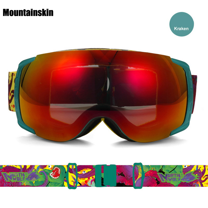 Mountainskin Men's Women Winter Ski Goggles Double Outdoor Sport Anti-fog Snowboarding Cycling Skiing Hiking UV400 Glasses VK011 new 525 golf clubs honma bezeal 525 complete set honma golf driver wood irons putter graphite golf shaft plus bag free shipping