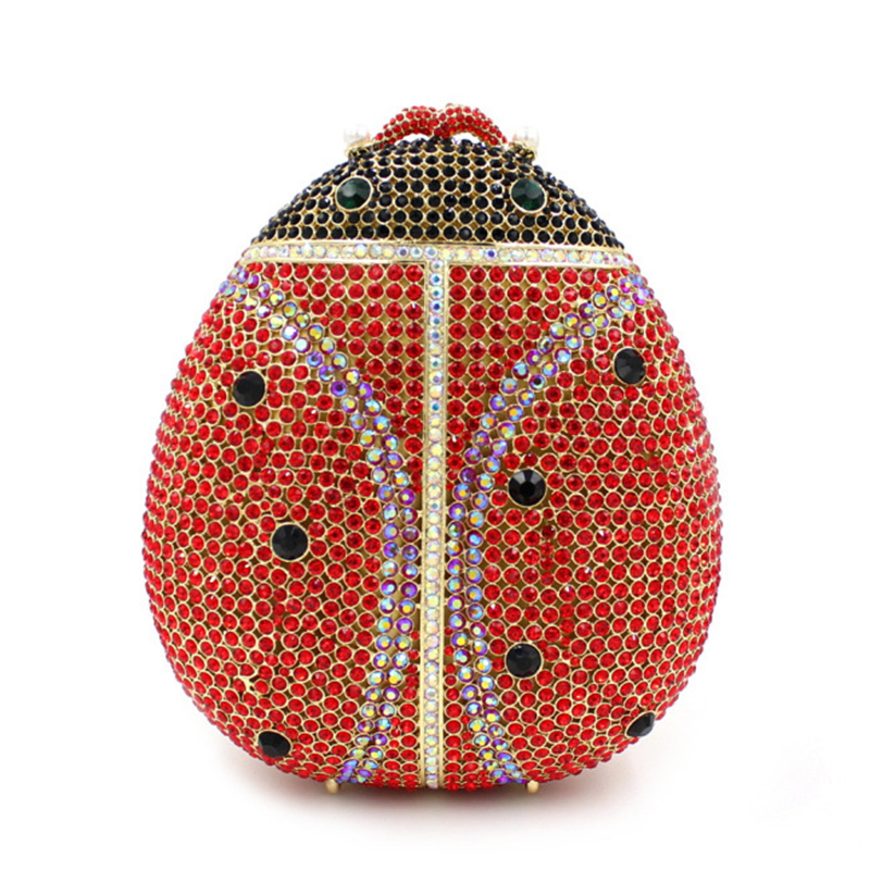 Popular luxury evening bags Sparkly Crystal women Clutch bags Colorful beetle pattern Ladies dinner bags Clutches purse winmax popular luxury evening bag sparkly crystal women party bag colorful butterfly pattern ladies dinner bag prom clutch purse