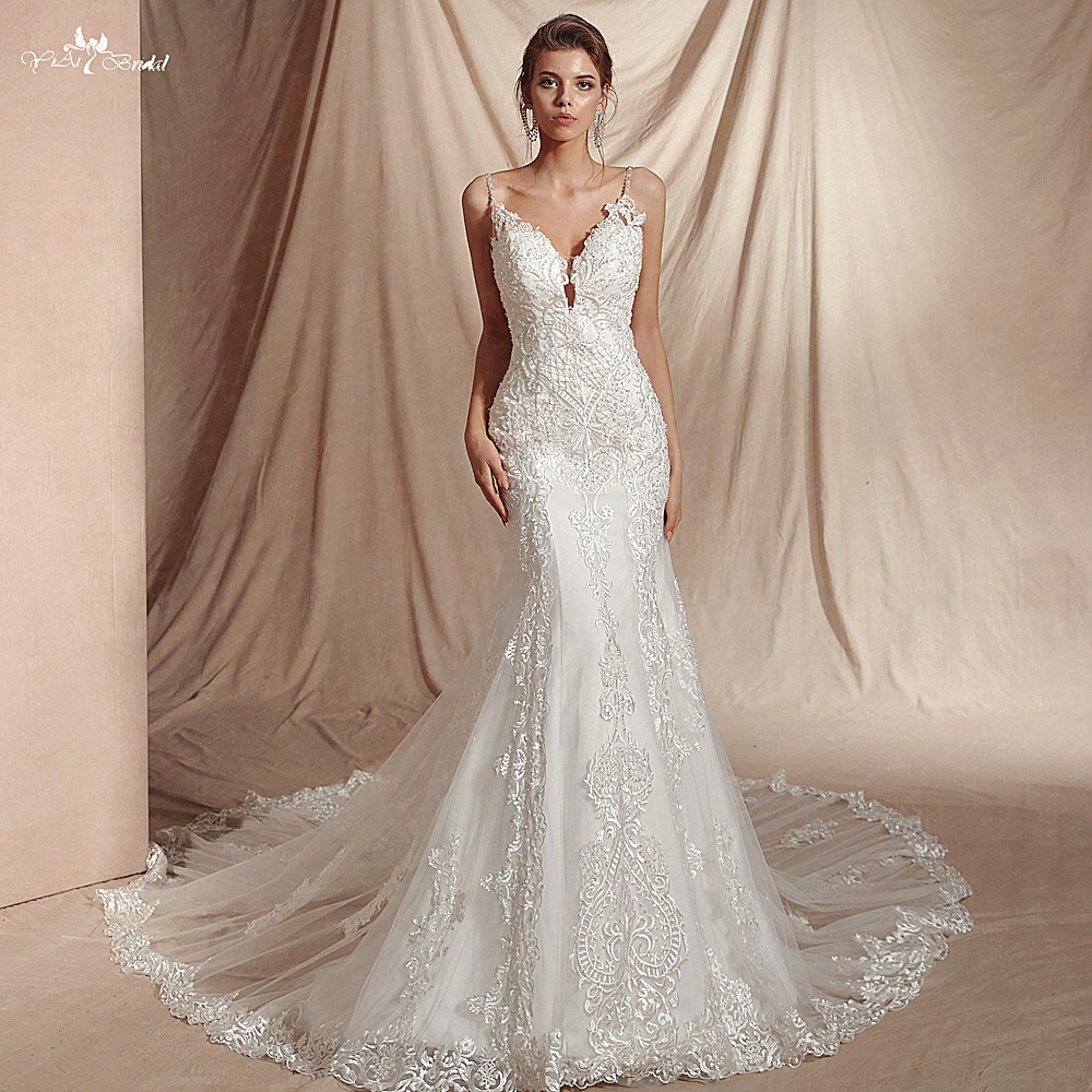 Mermaid Lace Wedding Gown: RSW1449 Spaghetti Straps Lace Pattern Mermaid Wedding