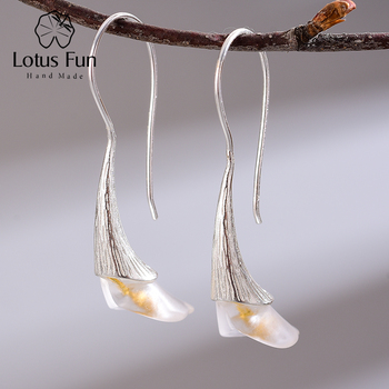 Lotus Fun Real 925 Sterling Silver Natural Handmade Designer Fine Jewelry Calla Lily Flower Dangle Earrings for Women Bijoux 1