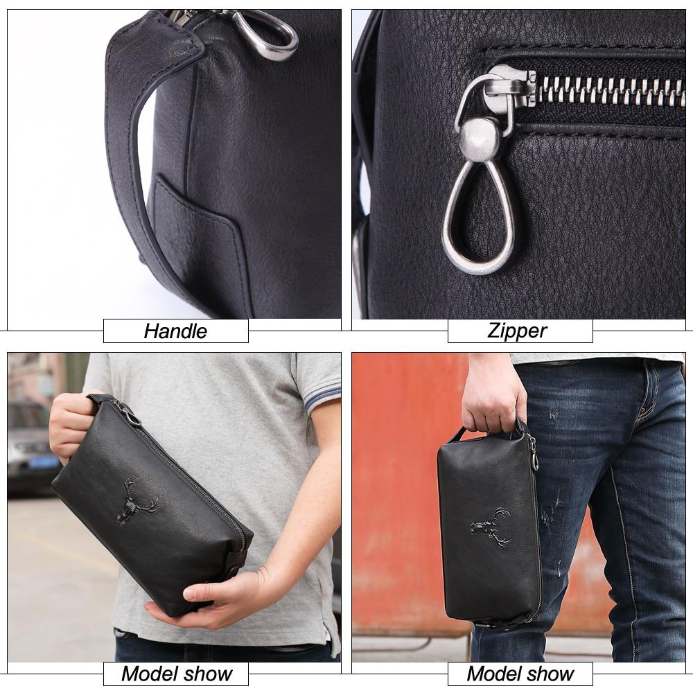 Image 5 - cosmetic case men genuine leather waterproof toiletry wash bag  high capacity handbag travel women make up bag zipper organizerCosmetic  Bags