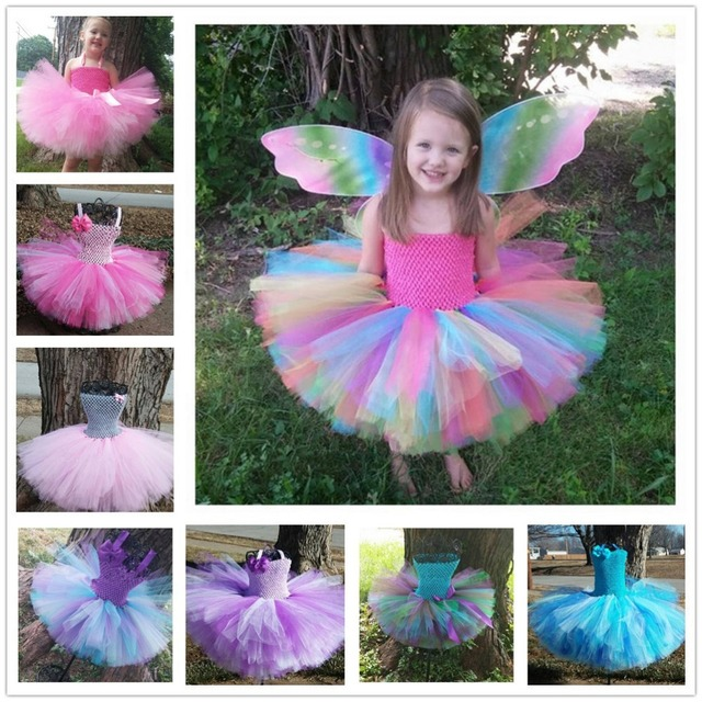 7a9ce8d012 Colorful Girls Crochet Tutu Dresses Baby 2Layers Fluffy Corset Ballet Tutus  with Grosgrain Bow and Headband