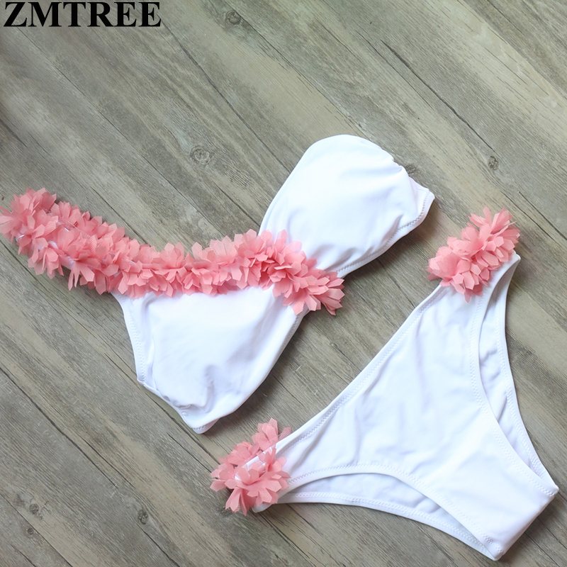 ZMTREE 2017 Bikini Handmade Floral Bikini Set Women Swimwear Off Shoulder Swimsuit White Beach Bathing Suit Biquini Swim Wear