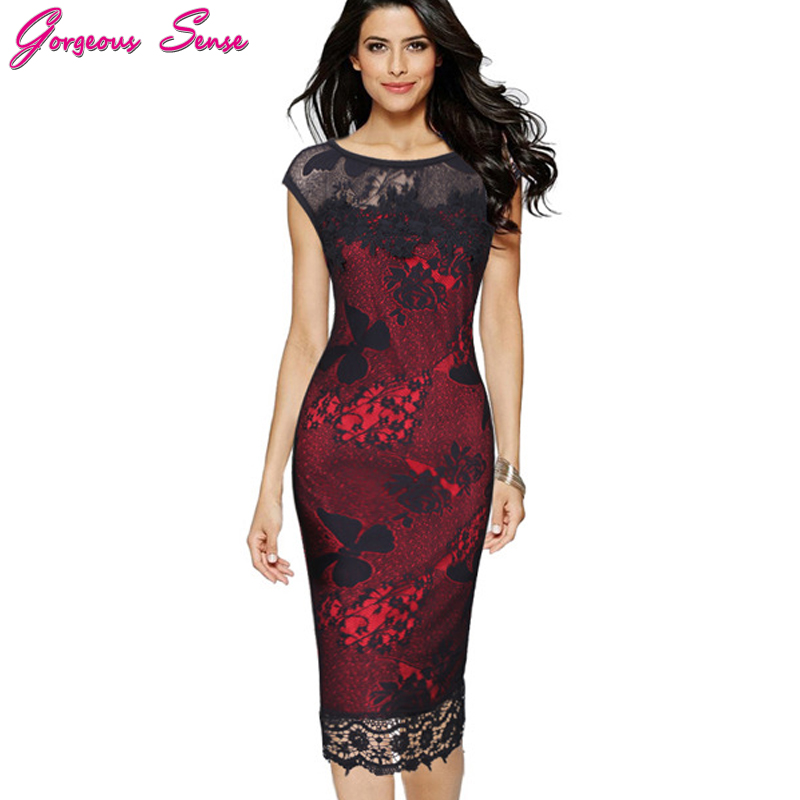 Plus Size Women Summer Bodycon Pencil Dress Office Ladies Patchwork Black Floral Lace Casual Party Dresses Tunic Pin Up 2017 5XL
