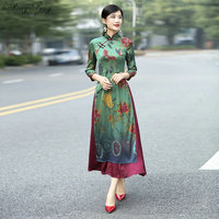 2018 summer asian clothing aodai vietnam cheongsam more feminine dress for women chinese traditional dress Q299